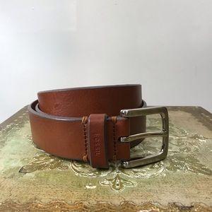 Fossil Men's Brown Leather Belt Silver Hardware